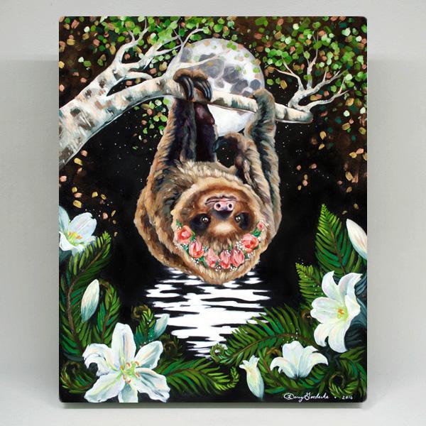 Midnight Sloth Canvas Print by Darcy Goedecke