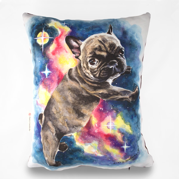 Frenchie Pillow by Darcy Goedecke