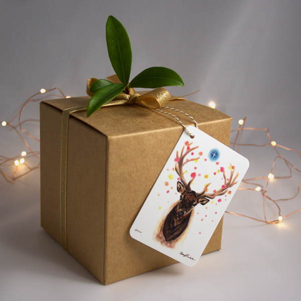 Starlit Elk Gift Tag by Darcy Goedecke