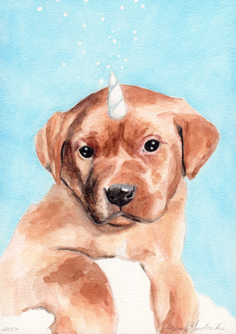 Puppycorn | Watercolor by Darcy Goedecke