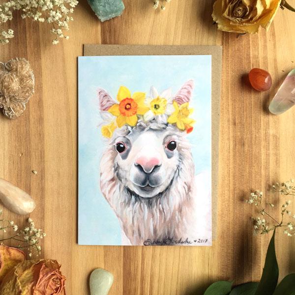 Daffodil Alpaca Card by Darcy Goedecke