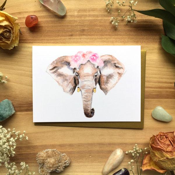 Elephant Ranunculus Card by Darcy Goedecke