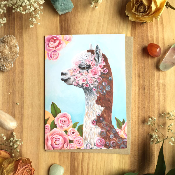 Rosie the Alpaca Card by Darcy Goedecke
