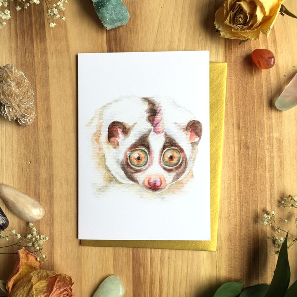 Slow Loris Card by Darcy Goedecke