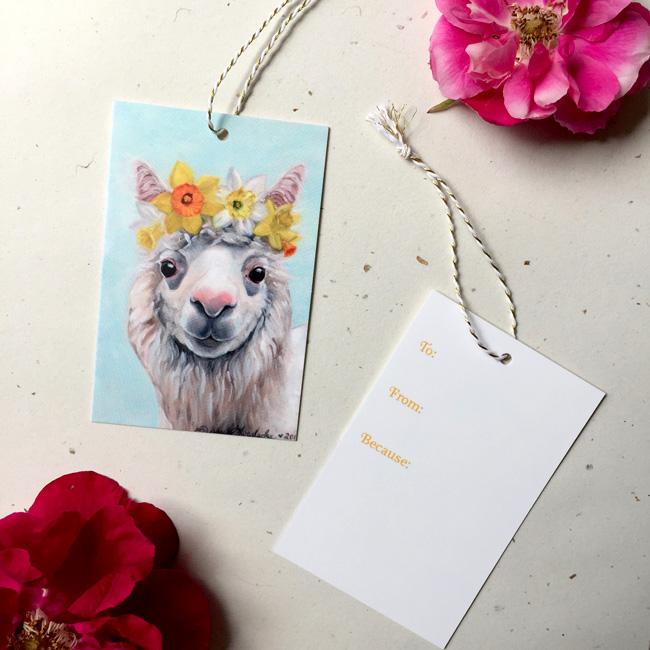Daffodil Alpaca Gift Tag by Darcy Goedecke