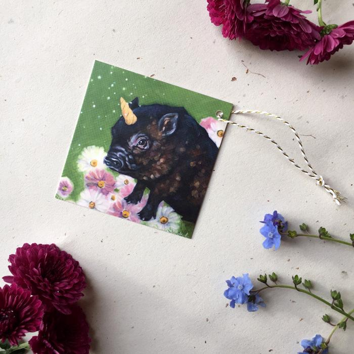 Piggicorn Gift Tag by Darcy Goedecke
