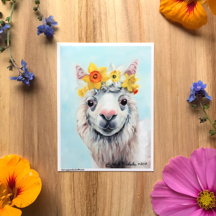 Daffodil Alpaca sticker by Darcy Goedecke