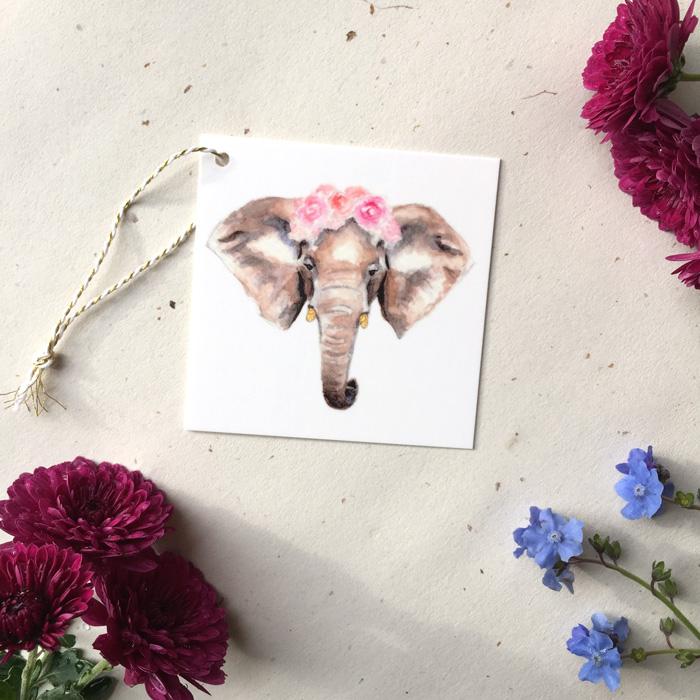 Elephant Ranunculus Gift Tag by Darcy Goedecke