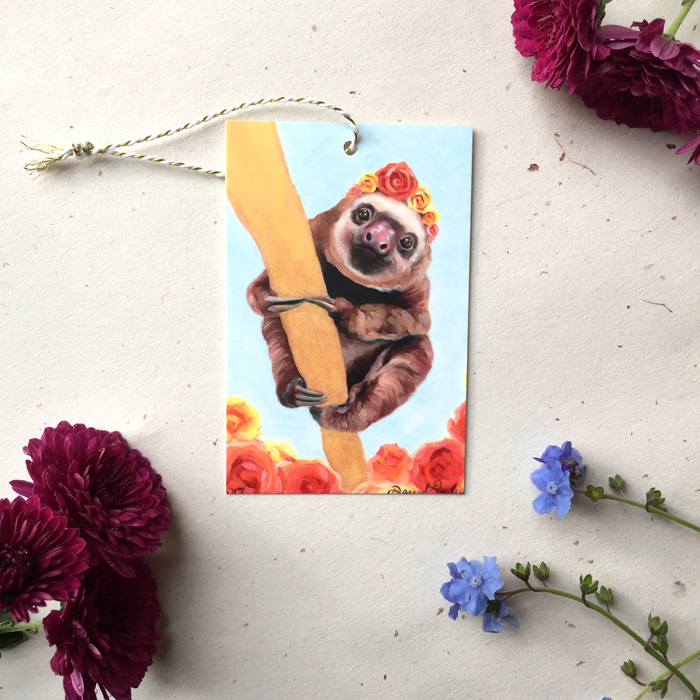 Elvis the Sloth Gift Tag by Darcy Goedecke