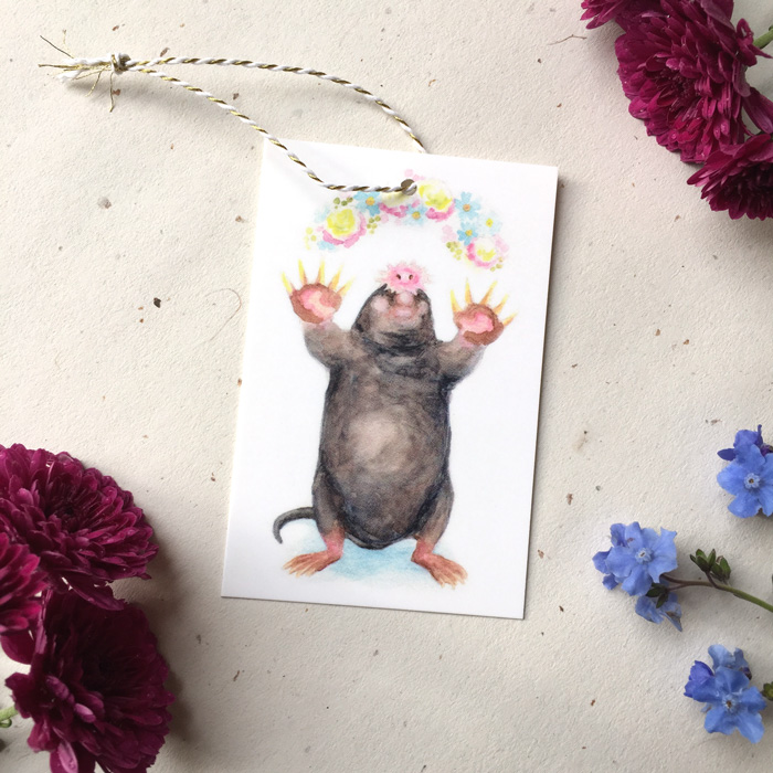 Spring Mole Gift Tag by Darcy Goedecke