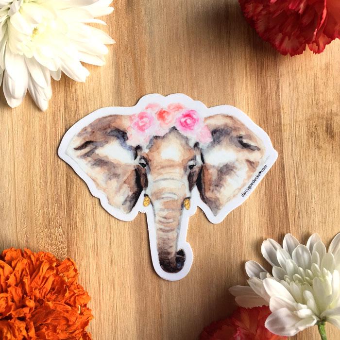 Elephant Ranunculus Flower Crown Sticker by Darcy Goedecke