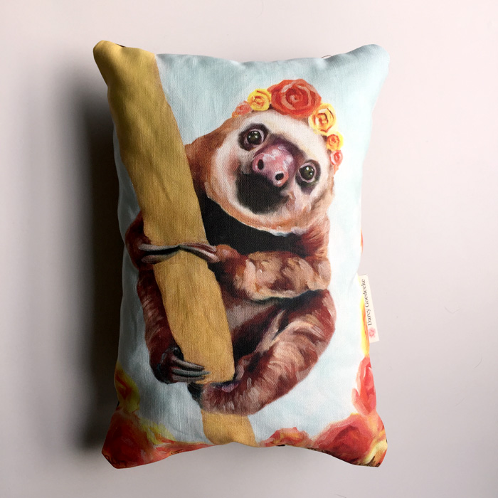 Sloth Mini Pillow by Darcy Goedecke