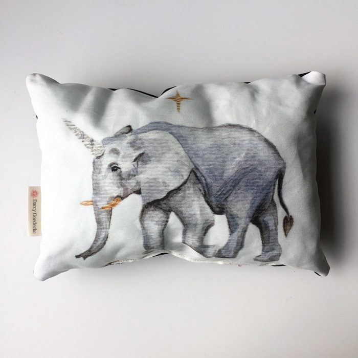 Mini Unicorn Elephant Pillow by Darcy Goedecke