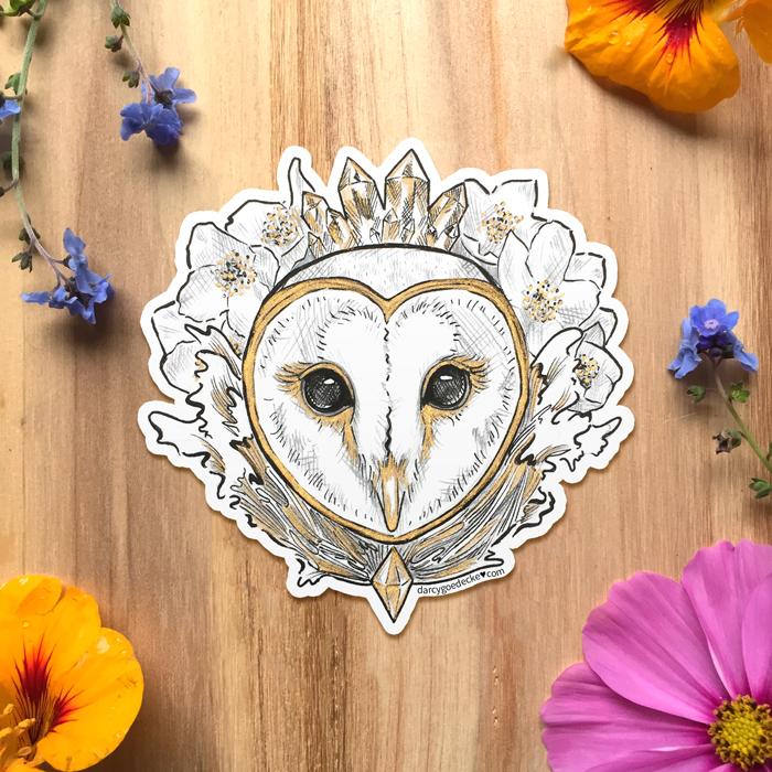 Land Sea Sky Owl Sticker by Darcy Goedecke