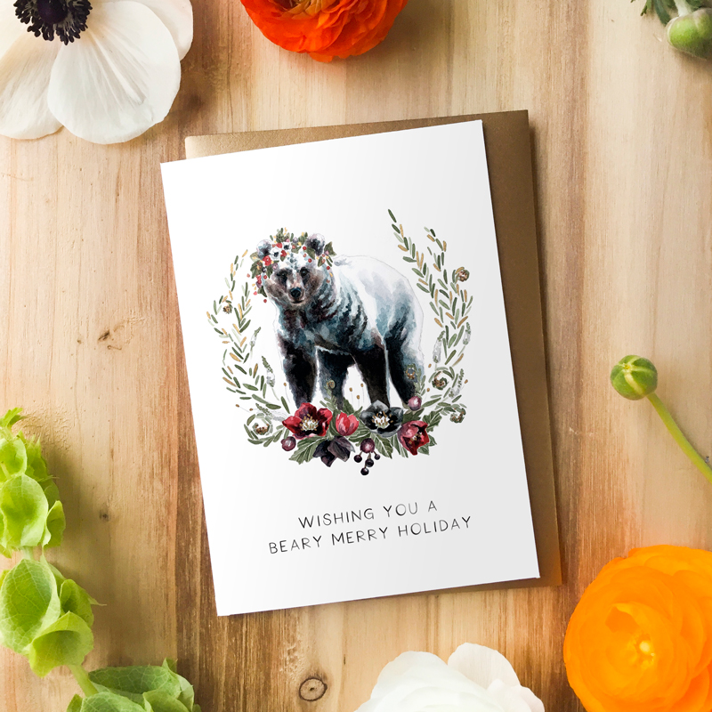 Beary Merry Holiday Card by Darcy Goedecke