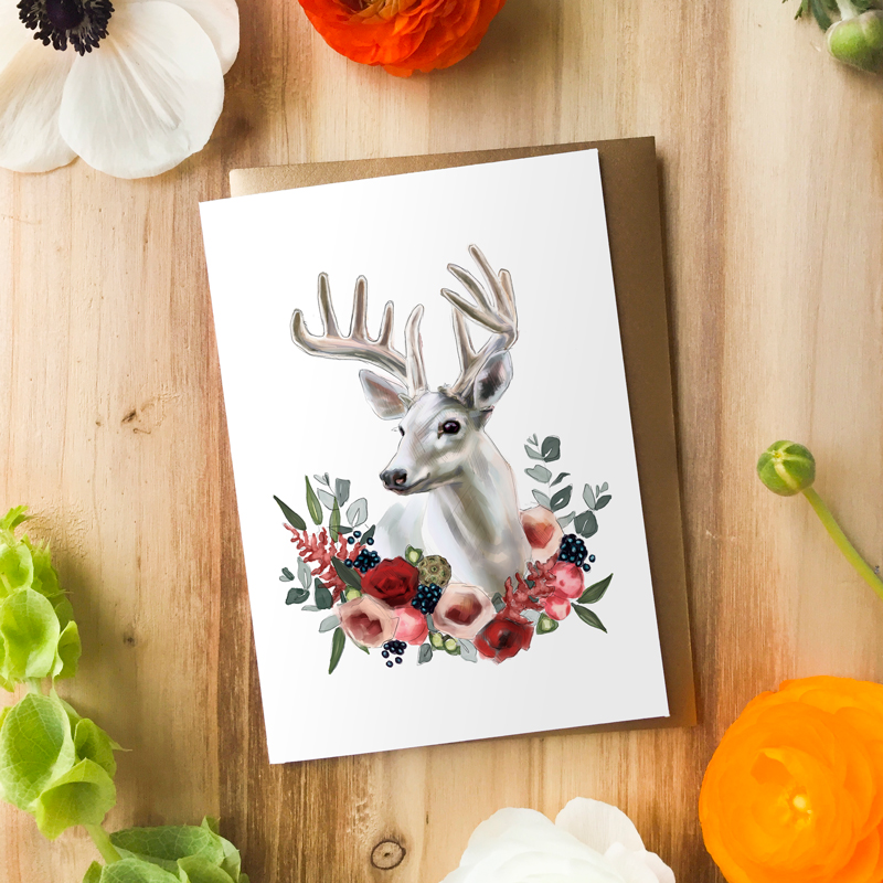 Albino Deer Card by Darcy Goedecke