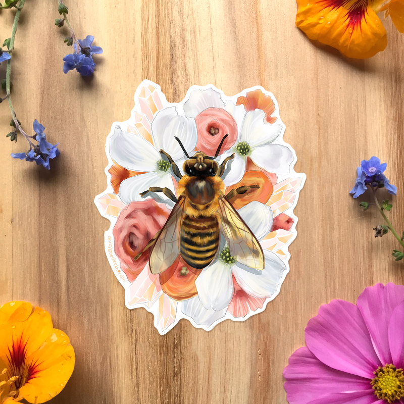 Honey Bee Sticker by Darcy Goedecke
