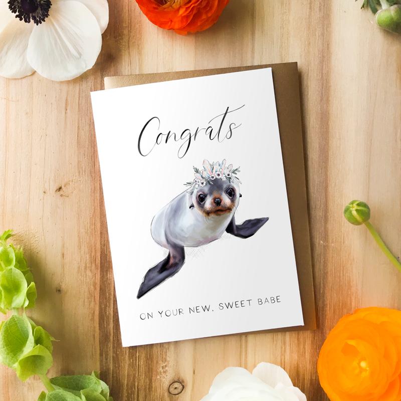 Congrats Baby Seal Card by Darcy Goedecke