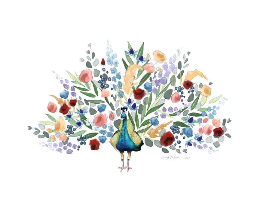 Floral Peacock by Darcy Goedecke