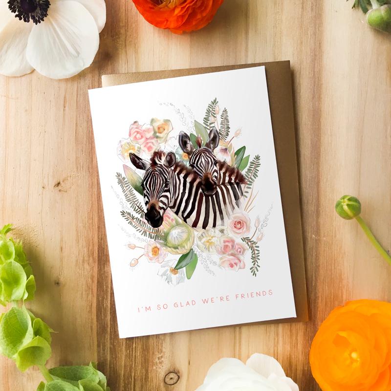 Zebra Friends Card by Darcy Goedecke