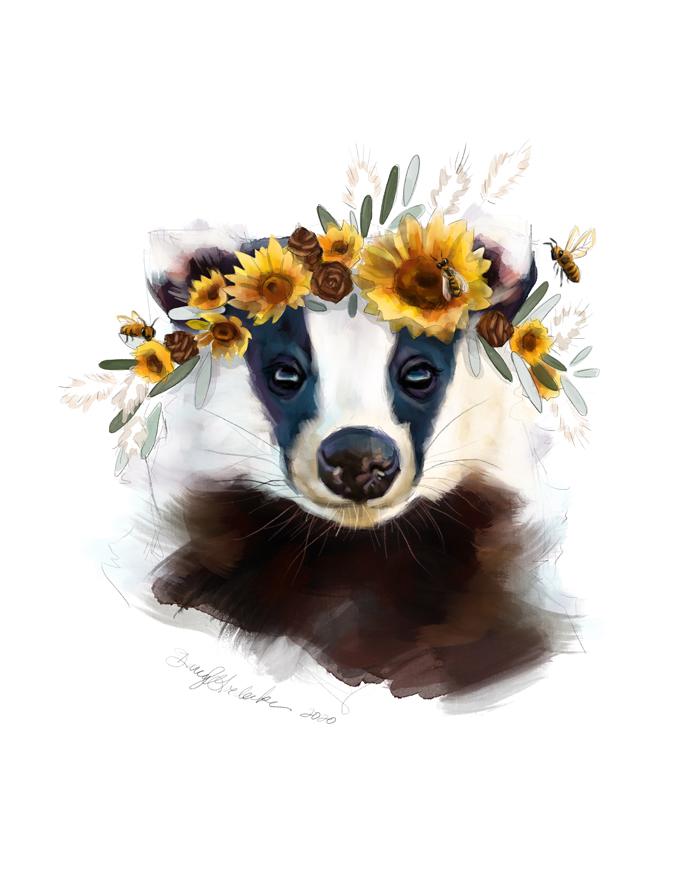 Sunflower Badger by Darcy Goedecke