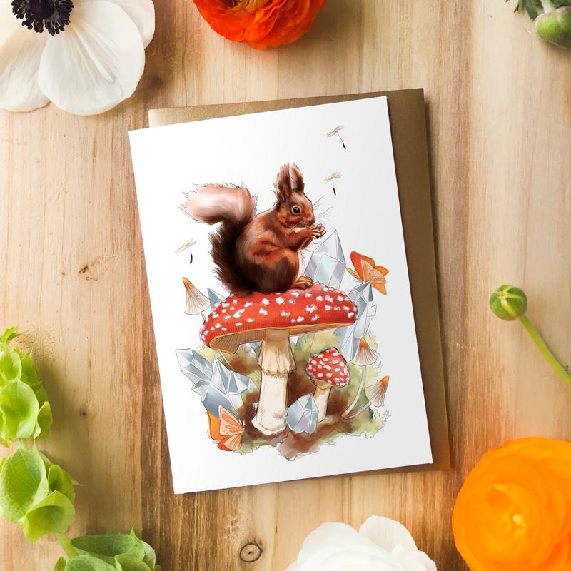Woodland Red Squirrel Card by Darcy Goedecke