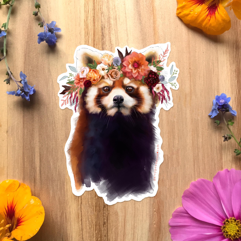 Red Panda Sticker by Darcy Goedecke