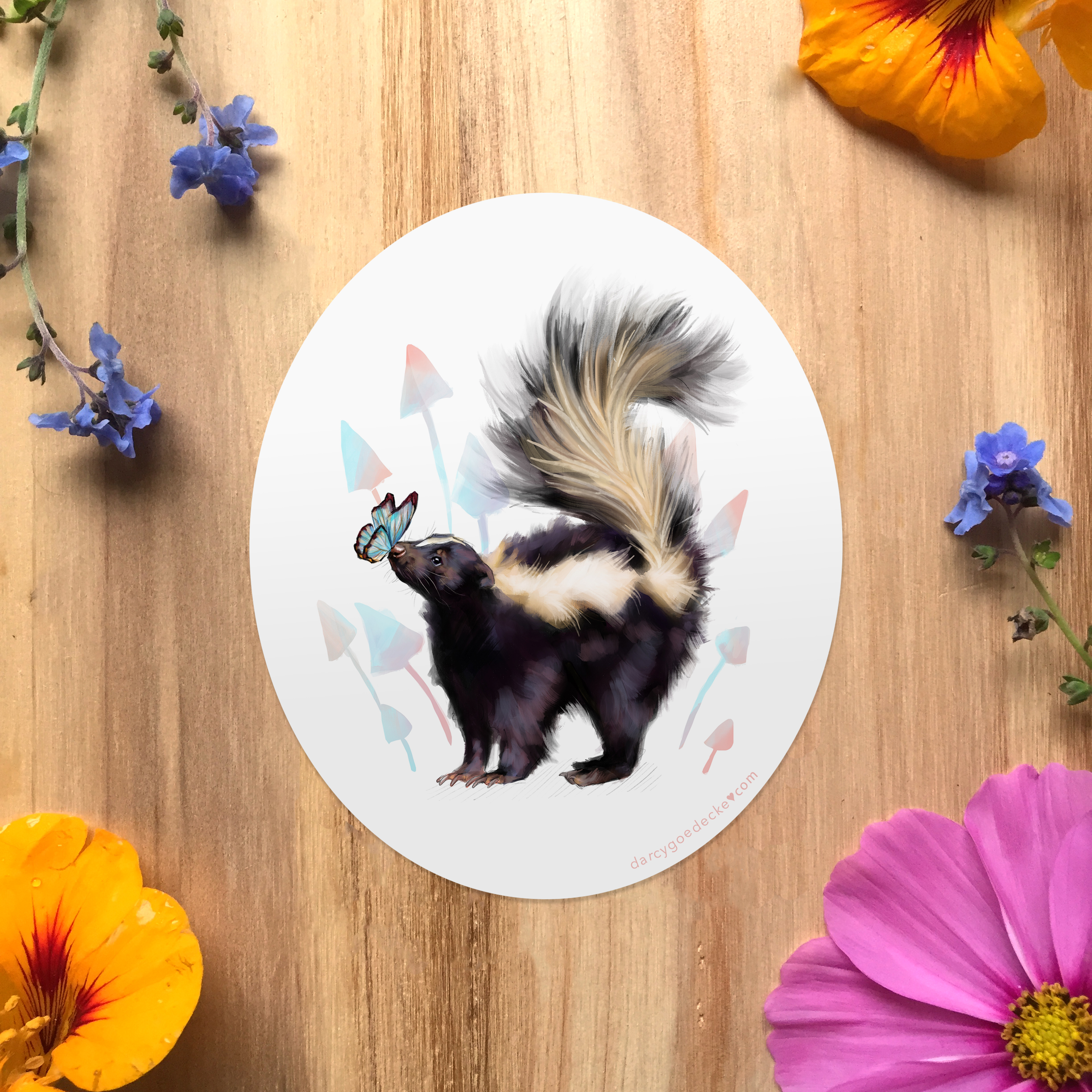 Skunk Sticker by Darcy Goedecke