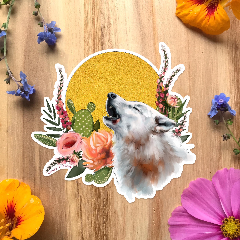 Wolf Sticker by Darcy Goedecke