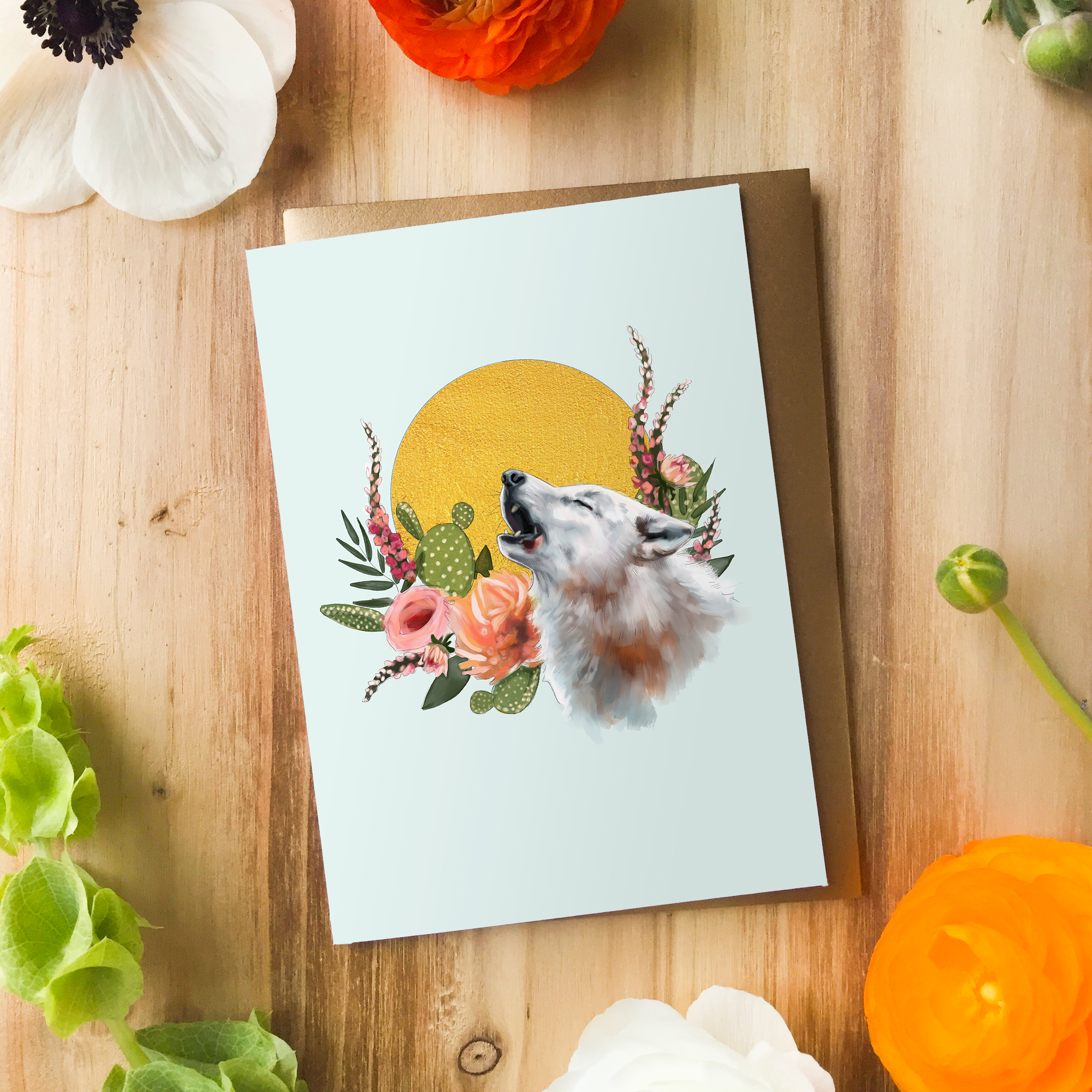 Howling Wolf Card