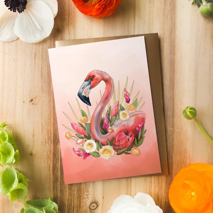Flamingo Card by Darcy Goedecke
