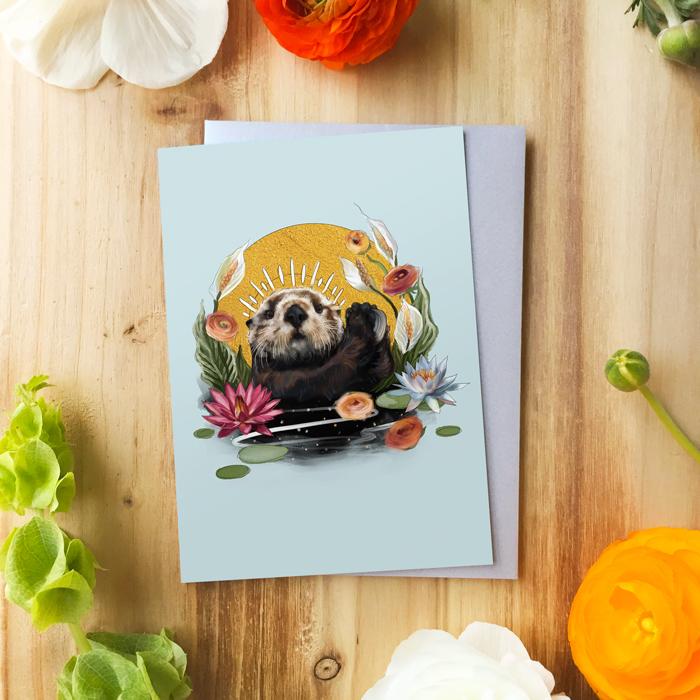 Otter Queen Card by Darcy Goedecke