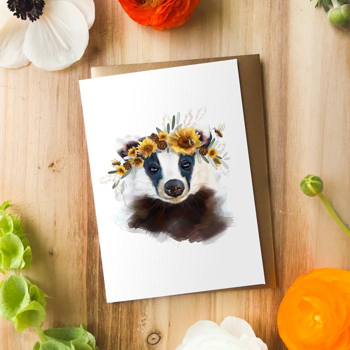 Sunflower Badger Card by Darcy Goedecke