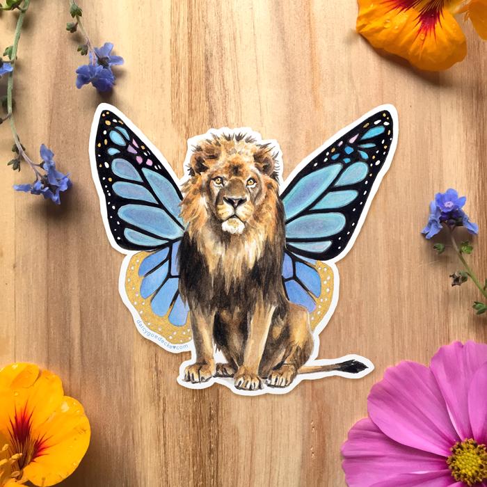 Flutter Lion Sticker by Darcy Goedecke