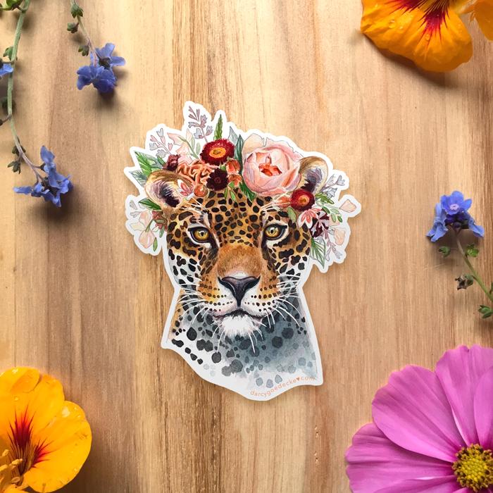 Lady Jaguar Sticker by Darcy Goedecke
