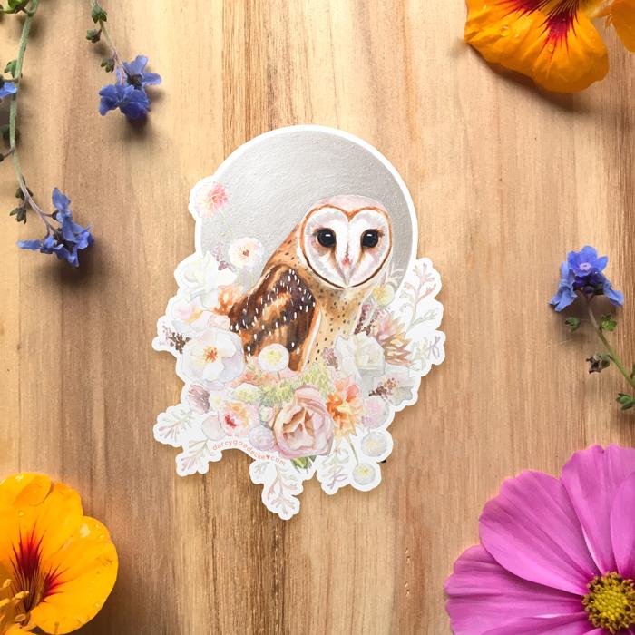 Pearl Owl Sticker by Darcy Goedecke