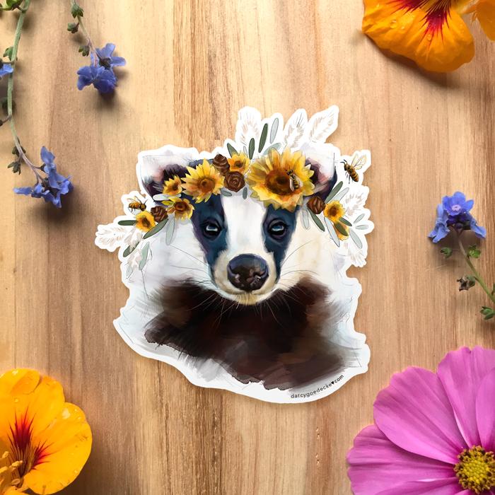 Sunflower Badger Sticker by Darcy Goedecke